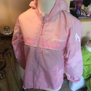 Yankees pink windbreaker jacket girls size L (14)